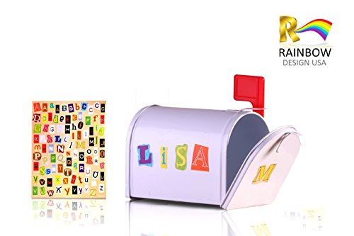 Rainbow Design Mini Tin Mailbox With Alphebet Stickers for Personalization, (Mini Mailbox)