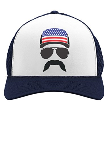 Tstars American Flag Cap hat - Cool 4th of July Merica USA Trucker Hat Mesh Cap One Size Navy/White