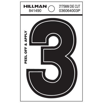 Hillman 3-Inch Die-Cut Black Gloss Finish, Wide Style, Vinyl Peel-Off Letter / Number (3)