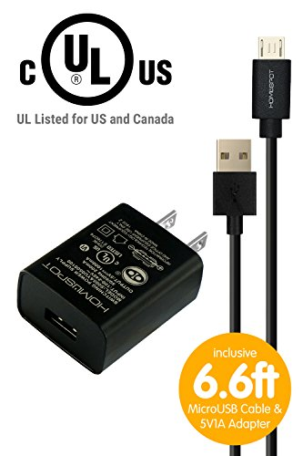 MakerSpot Accessories - UL-Listed 5v1a 1000mA USB Wall Charger w/Micro-USB to USB Cable - 6.6ft (2M) Extra Long Charging Cable for Single-Board Computers Arduino, Raspberry Pi, teensy, NETduino