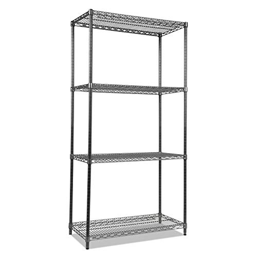 Alera ALESW503618BA Wire Shelving Starter Kit, Four-Shelf, 36w x 18d x 72h, Black Anthracite - Alera Wire Shelving Solutions