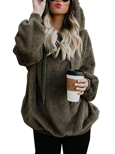 - ECHOINE Hooded Sweatshirt for Women, Zip up Fluffy Fall Winter Coat Pullover Hoodies Tops (S, Navy Green)