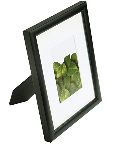 Vista Kayan 8 x 10 inches Picture Frame, Thin Profile in Black, Wide Mat w 4 x 6 inches Opening
