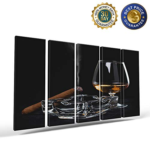 5 Panels Canvas Print Wall Art Ashtray Cigar Wine Glass Unhealthy Habit Wall Decor Pictures for Living Room Modern Artwork Paintings Photographs Stretched and Framed Ready to Hang 8x24inch
