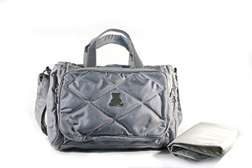 BL BABY - Elegance Collec. - SM - Crossbody Bag - Compart. - Nylon Material - Gray - 5x17x12'' by BL BABY