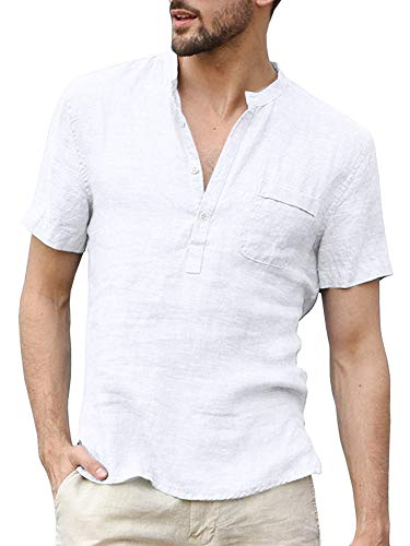 Enjoybuy Mens Summer Linen Henley Shirts Short Sleeve Banded Collar Casual Beach Shirt Tops White