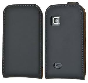 Suncase - Funda de cuero con tapa para Samsung Galaxy Fit S5670, color negro