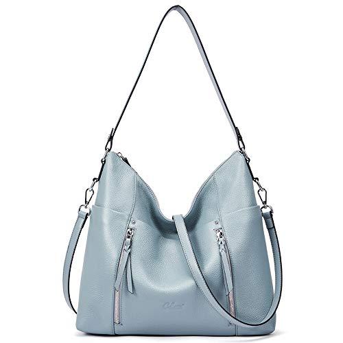 Women Soft Genuine Leather Hobo Handbags Top Handle Tote Bag Large Fashion Crossbody Shoulder Bag Blue