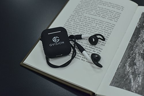 Apple Airpod Case-Premium Quality Silicone Protective Shock Resistant/Waterproof +Earbud Strap (Black)