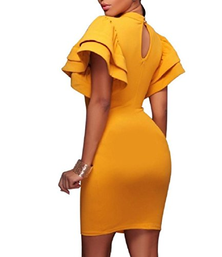 Dress Mid and Solid Crew Flounced Colored Women Maxi Yellow Sleeve Coolred Neck 1qf0vwTf