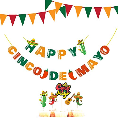 Amosfun Mexican Party Banner Flags Cactus Cake Toppers Carnival Party Garland for Themed Party Decoration 1 Set ()