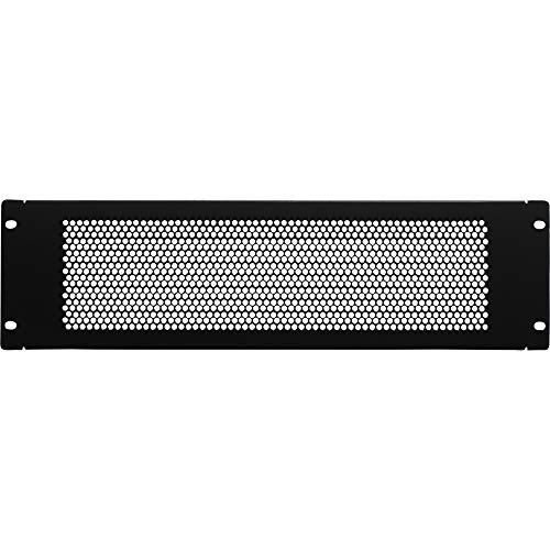 NavePoint 3U Blank Rack Mount Panel Spacer With Venting For 19-Inch Server Network Rack Enclosure Or Cabinet Black