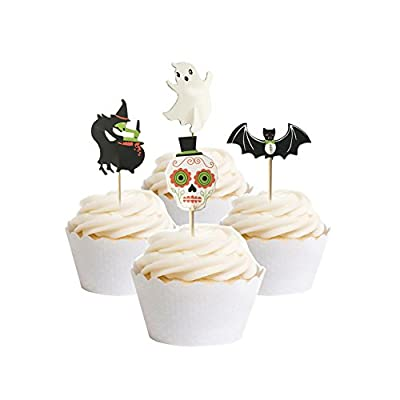 partymaster halloween decorations 48pcs skeletons bat food toothpicks cupcake muffin toppersmixed packaging
