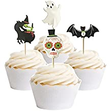 PARTYMASTER Halloween Decorations 48PCS Skeletons Bat Food Toothpicks Cupcake Muffin Toppers,Mixed Packaging