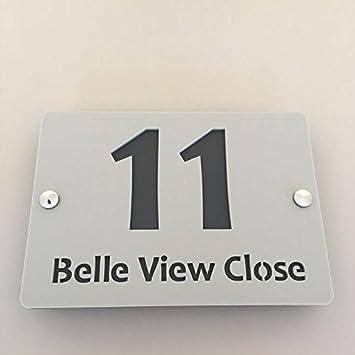 Rectangular House Number & Street Name Sign - Light Grey