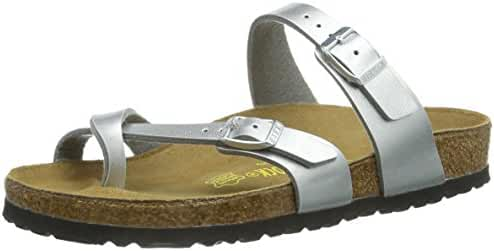 Birkenstock Women's Mayari Adjustable Toe Loop Cork Footbed Sandal Silver 40 M EU