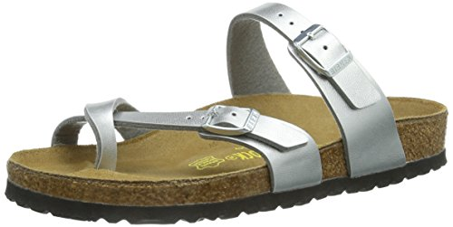 adies Buckle Toe Strap Sandals Silver 38 ()