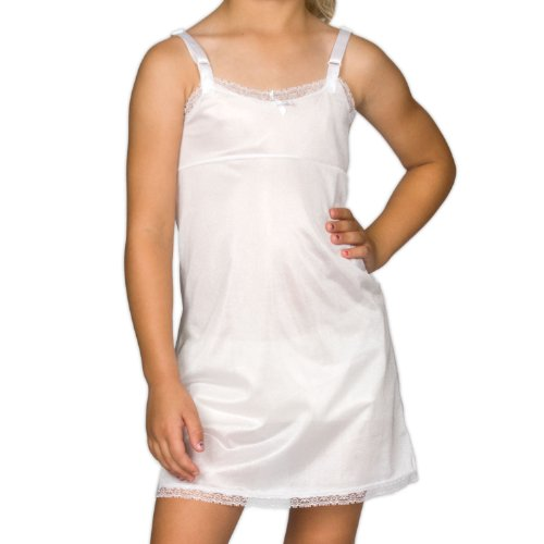 I.C. Collections Big Girls White Simple Empire Waist Slip, 12