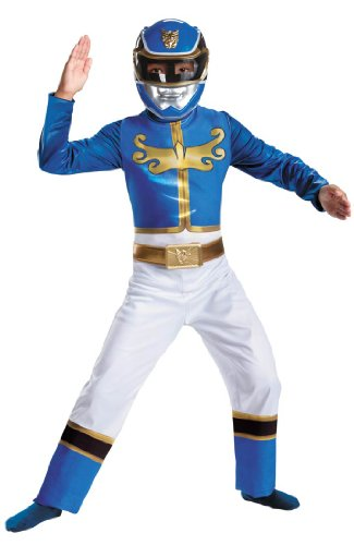 Megaforce Blue Ranger Kids Costumes (Disguise Power Ranger Megaforce Blue Ranger Boy's Classic Costume, 10-12)