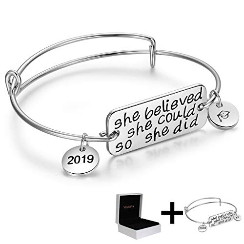 Ingooood Graduation Gift Bracelet for Women 2019 Graduation Cap Bracelet She Believed She Could So She Did Adjustable Bracelet for Women (Silver with Box)