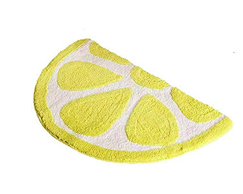 Baby Playtime Cozy Lemon Cute Fruits Half Round Shaped Bedroom Bathroom Doorway Kitchen Floor Rug Carpet Water Absorption Non-Slip mat for Kid's Room (Yellow, 50x80CM) by HYST (Image #3)