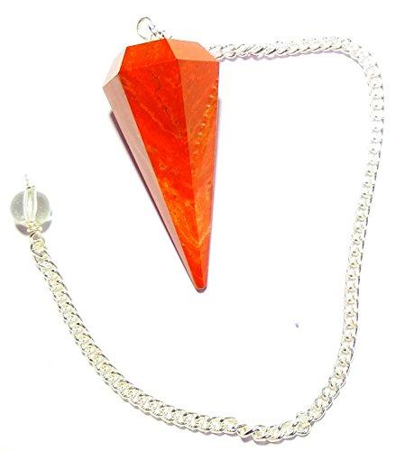 Red Jasper Crystal Pendulum Stone Healing Quartz 6 Facet Reiki Charged Bead End from WholesaleGemShop