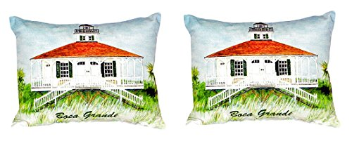 Pair of Betsy Drake Boca Grande Lighthouse No Cord Pillows 15 Inch X 22 Inch