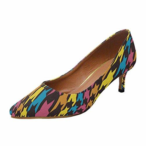 Talon De Chaton Faible Dinterestprint Womens Bout Pointu Chaussures De Pompe De Robe Chenilles Changées Modèle De Dent Multi 1