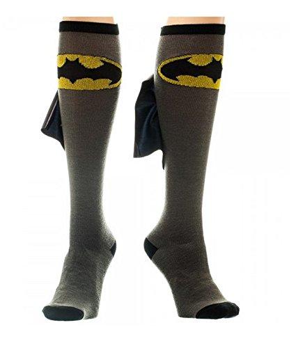 DC Comics Batman Cape Knee High Socks 1 x 1in  Black/Grey  One Size (Batman Sock Women)