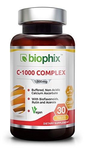 Vitamin C 1000 mg 30 Tabs Complex - Vegan | Immune Health Support | with Bioflavonoids | Rutin | Acerola