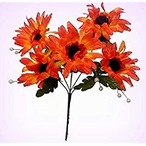 Inna-Wholesale Art Crafts New 5 Gerbera Daisy Bush Orange Silk Bouquet Decorating Flowers - Perfect for Any Wedding, Special Occasion or Home Office D?cor 27
