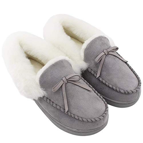 HomeIdeas Women's Faux Fur Lined Suede House Slippers, Winter Indoor Outdoor Moccasins Gray 10 B(M) US