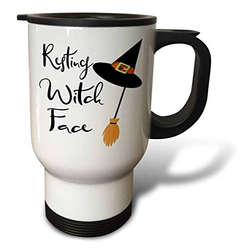 3dRose Anne Marie Baugh - Quotes, Sayings, and Typography - Resting Witch Face - Halloween Saying - 14oz Stainless Steel Travel Mug (tm_297023_1)