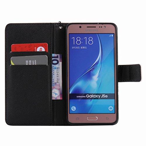 Custodia Samsung Galaxy J5 (2016) / J510FN Cover Case, Ougger Portafoglio PU Pelle Magnetico Stand Morbido Silicone Flip Bumper Protettivo Gomma Shell Borsa Custodie con Slot per Schede, Scena Notturn