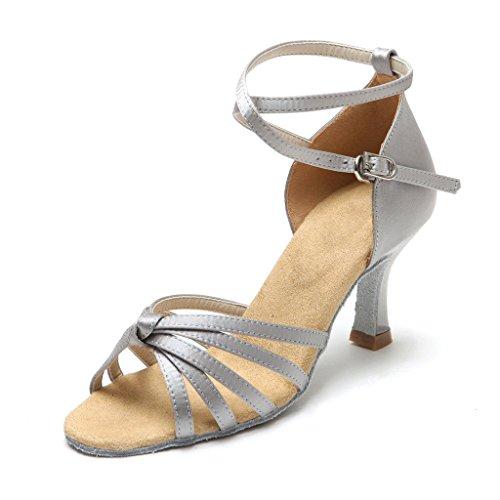 BCLN Womens Open toe Sandals Latin Salsa Tango Heels Practice Ballroom Dance Shoes with 2.75 Heel Silver JTtOTj0