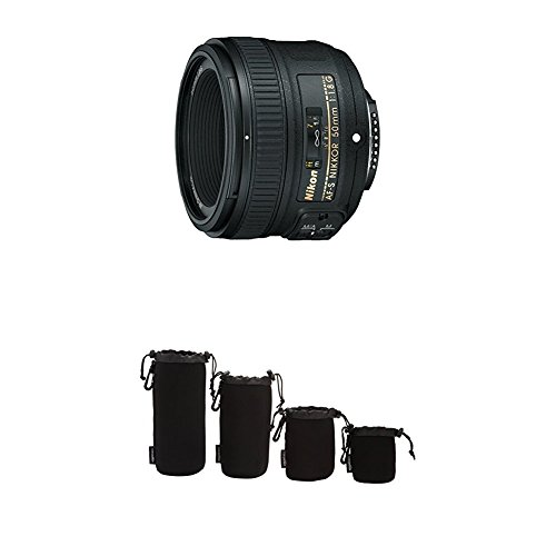Nikon AF-S FX NIKKOR 50mm f/1.8G Lens with Auto Focus with Camera Lens Protective Pouches - Water Resistant