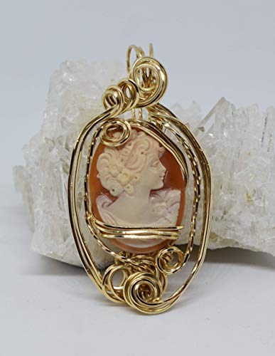 Hand-carved Authentic Italian Shell Cameo Pendant, 14 Carat Rolled Gold, Wire Sculpted Pendant, Wire Wrapped Jewelry, Women's Fine Jewelry, Victorian Style Cameo