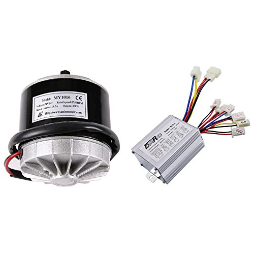 JCMOTO 24v 350w Brushed Speed Motor and Controller Set for Electric Scooter Go Kart Bicycle e Bike Tricycle Moped