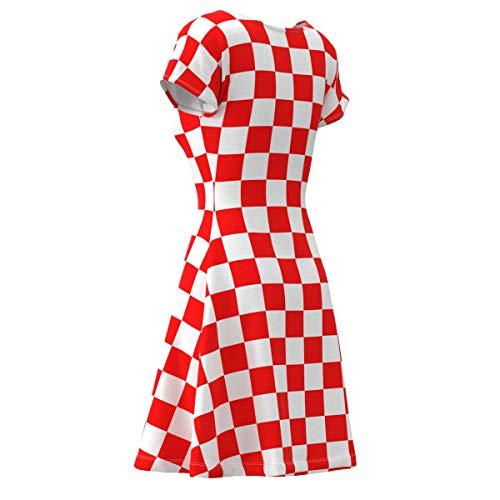 fe3ba48600 EightyThree XYZ Red White Checkered Box Check Women s Short Sleeve Skater  Dress - L