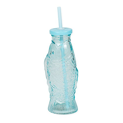 Blue Fish 10 Ounce Glass Drinking Tumbler Bottle with Straw