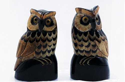 Gift Craft Scarecrow Approximate 2.5-Inch Buffalo horn carved owl, Handmade 1 Pair Approximate Weight 100 G ()