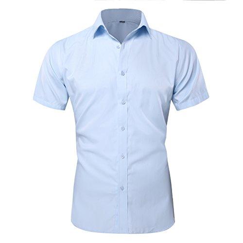 Shirt Sleeve Twill Short Mens (Musen Men Short Sleeve Dress Shirt Slim Fit Twill Shirts No-Pocket Blue 44)