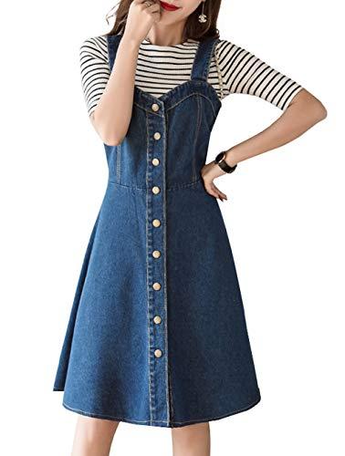 - chouyatou Women's Sweetheart Neck Knee Length Pinafore Midi Overall Denim Skirt Dress (Small, Blue)