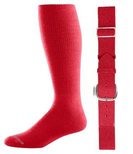 (Joe's USA - Baseball Socks & Belt Combo Set Colors Available (Scarlet, Youth (7-9)))