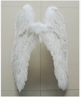 Fashion novel angels feathered wings Halloween Cosplay props Christmas dance party Fine decoration a birthday present (White 80 cm 80 (Angel Wings Halloween)