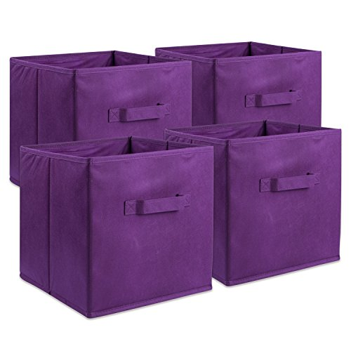DII Fabric Storage Bins for Nursery, Offices, Home Organization, Containers are Made to Fit Standard Cube Organizers (11x11x11) Eggplant - Set of 4 by DII