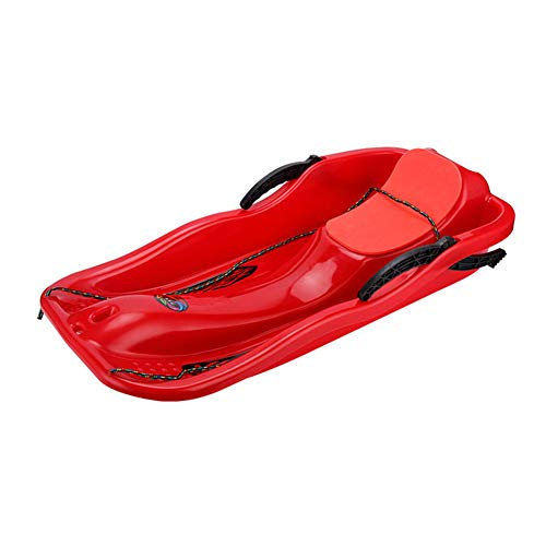 WAQIAGO Kids Snow Sled, Toboggan with Brakes Anti-Slip Foot Panels, Pull Sled Sand Grass Skiing Snowboard Boat Red