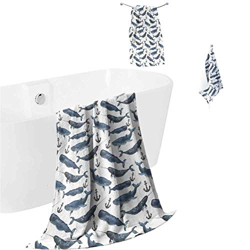 hengshu Narwhal Microfiber Bath Towel Sets Extra Large Aquarelle Whales with Anchors Marine Biology Illustration Brush Stroke Quick Dry Towel Hand Towels Dark Blue Navy Blue