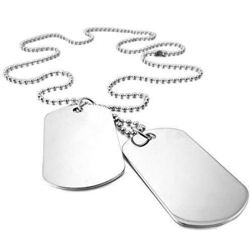 MunkiMix 2 PCS Metalllegierung Legierung Anhänger Halskette Silber Armee Militärischen Doppel Doppelseitig Dog Tag Motorradfahrer Biker 27 Zoll Kette Herren