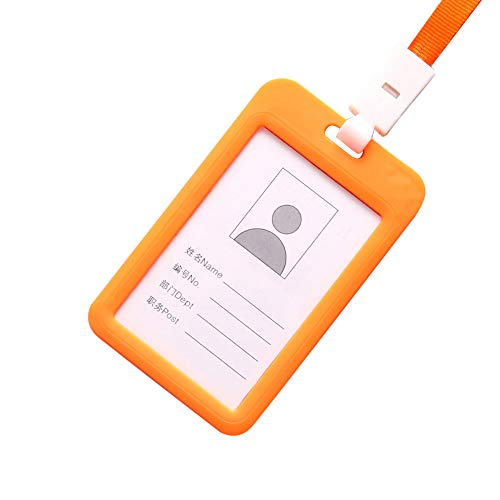 Halloween Clearance, Portable Colorful Employee Plastic ID Card Holder Name Tag Lanyard Neck Strap (Orange)